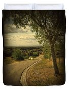 Car On Road Duvet Cover by Carlos Caetano