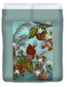 Cardinal And Apples Duvet Cover