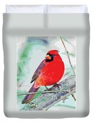 Cardinal In Ice Tree Duvet Cover