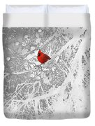 Cardinal In Winter Duvet Cover by Ellen Henneke