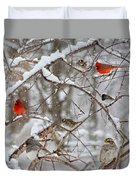 Cardinal Meeting In The Snow Duvet Cover