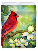 Cardinal On Dogwood Duvet Cover