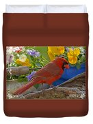 Cardinal With Pansies And Decorations Duvet Cover