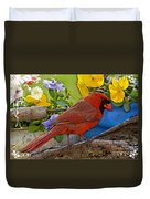 Cardinal With Pansies And Decorations Photoart Duvet Cover