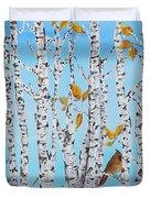 Cardinals Among The Birch-jp2061 Duvet Cover