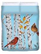 Cardinals Among The Birch-d Duvet Cover