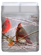 Cardinals - Male And Female - Img_003card Duvet Cover