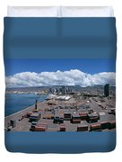 Cargo Containers At A Harbor, Honolulu Duvet Cover