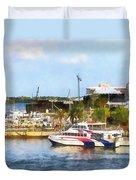 Caribbean - Dock At King's Wharf Bermuda Duvet Cover