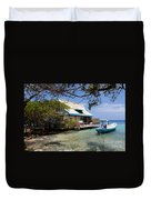 Caribbean House And Boat Duvet Cover