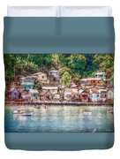 Caribbean Village Duvet Cover