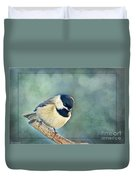 Carlina Chickadee With Soft Blue Bokeh Duvet Cover