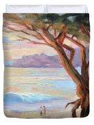 Carmel Beach Winter Sunset Duvet Cover