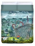 Carnival - The Thrill Ride Duvet Cover by Mike Savad