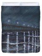 Carolina Beach Pier By Night Duvet Cover