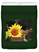 Carolina Wren And Sunflowers Duvet Cover