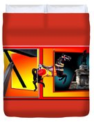 Carousel Horse Fireman 04 In Teal Duvet Cover