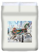 Carousel Horse In Negative Colors Duvet Cover