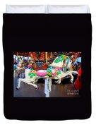 Carousel Horse With Flower Drape Duvet Cover