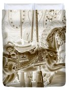 Carousel In Negative Sepia Duvet Cover