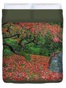 Carpet Of Fall Colors In Portland Japanese Garden Duvet Cover