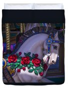 Carrsoul Horse With Roses Duvet Cover