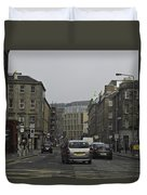 Cars And Buildings On The Streets Of Edinburgh Duvet Cover
