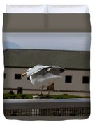 Cartoon - A Bird Perched On A Metal Post Getting Ready To Take Off Duvet Cover