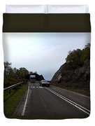Cartoon - Car And Truck Crossing A Road Repair Section Of Highway In Scotland Duvet Cover