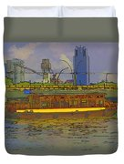 Cartoon - Colorful River Cruise Boat In Singapore Next To A Bridge Duvet Cover