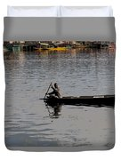 Cartoon - Kashmiri Man Rowing A Small Wooden Boat In The Waters Of The Dal Lake Duvet Cover