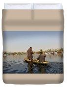 Cartoon - Kashmiri Men Plying A Wooden Boat In The Dal Lake In Srinagar Duvet Cover
