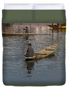 Cartoon - Kashmiri Men Rowing Many Small Wooden Boats In The Waters Of The Dal Lake Duvet Cover