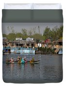Cartoon - Ladies On 2 Wooden Boats On The Dal Lake With The Background Of Houseboats Duvet Cover