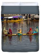 Cartoon - Ladies On A Wooden Boat On The Dal Lake With The Background Of Hoseboats Duvet Cover