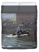 Cartoon - Light Following This Lady On A Wooden Boat On The Dal Lake In Srinagar Duvet Cover