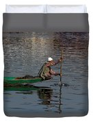 Cartoon - Man Plying A Wooden Boat On The Dal Lake Duvet Cover