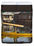 Cartoon - Man Plying Wooden Shikara With Side Lettering Of Kodak Express In The Dal Lake Duvet Cover