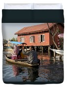 Cartoon - Man Rowing A Family In A Wooden Boat Duvet Cover