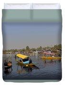 Cartoon - Multiple Number Of Shikaras On The Water Of The Dal Lake In Srinagar Duvet Cover