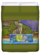 Cartoon - Statue Of The Merlion With A Banner Below The Statue Duvet Cover
