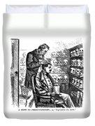 Cartoon: Phrenology, 1865 Duvet Cover