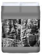 Carved Stone Faces In The Khmer Temple Duvet Cover