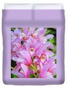 Cascade Of Pink Orchids Duvet Cover