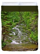 Cascade Over Mossy Rocks Along La Chute Trail In Forillon Np-qc Duvet Cover