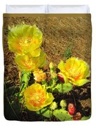 Cascading Prickly Pear Blossoms Duvet Cover