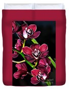 Cascading Red Orchids Duvet Cover