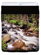 Cascading Rocky Mountain Forest Creek Duvet Cover
