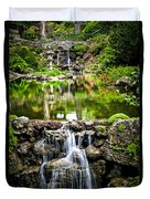 Cascading Waterfall And Pond Duvet Cover by Elena Elisseeva