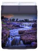 Cascading Waterfalls At Sunset Duvet Cover